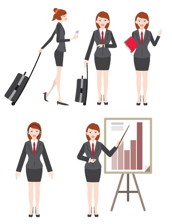 good looking: beautiful business women go to trip work another city