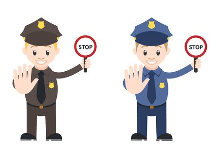 Police et panneau d'arrêt sur la police de la main Banque d'images - 48170955