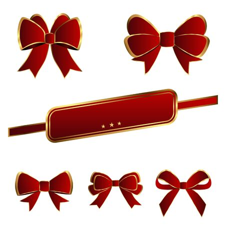 dinner party: Luxury bows red color on white background
