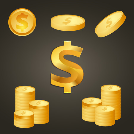 signo pesos: Moneda de oro y de los símbolos del dólar