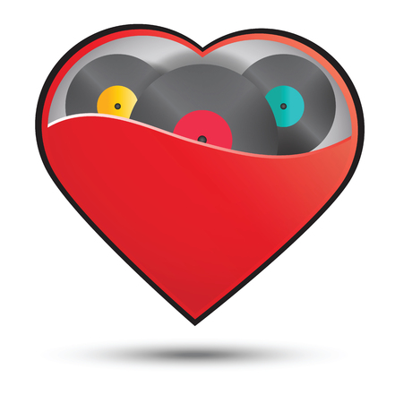 valentine musical note: Heart music or dice in heart