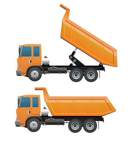 vertedero: Cami�n volquete y maquinaria dumpingConstruction conjunto amarillo color anaranjado diez ruedas Vectores