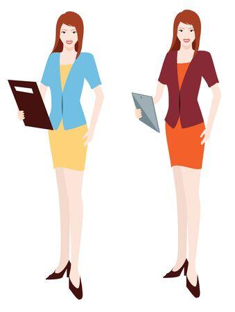 gripping: beautiful business women take file on hand
