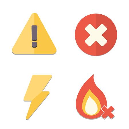 vector skull danger sign: Danger icon set