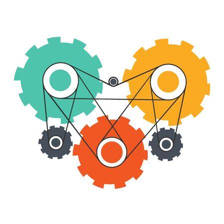 heart work: Heart engine or team work concept Illustration