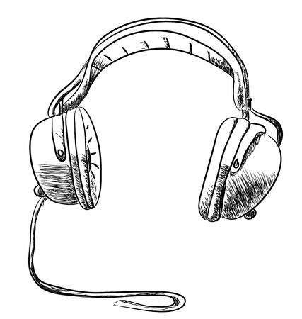 Hand drawn headphone vector design