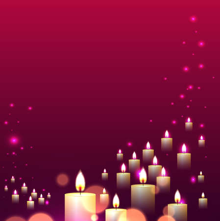 candle light: Candle light line fall on pink background