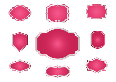 gold colour: Blank Premium label and budges pink and silver Illustration