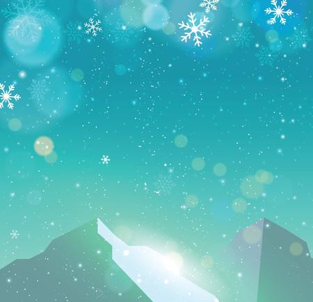 snowfall: Winter snowfall drop mountain on blue background