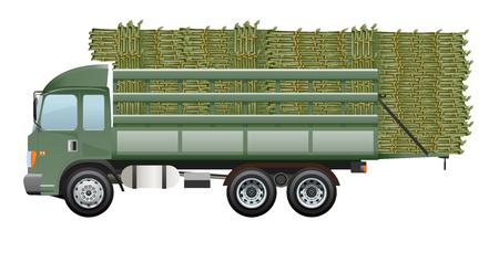 sugarcane: Sugarcane truck Dark green truck farm working