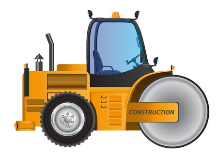 steamroller: Steamroller yellow car vector design model Illustration