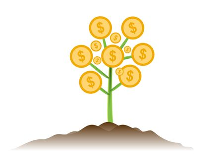 single tree: Money tree investment business concept Illustration