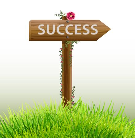 success concept: wood Sign success business concept Illustration