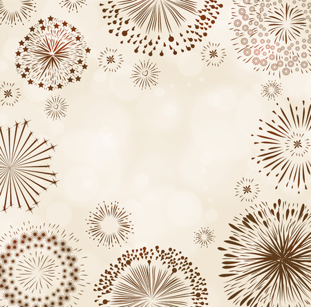white work: Fire works on soft brow background