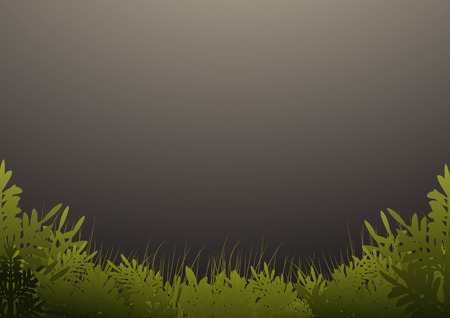 milkyway: Grass and trees on dark green background Illustration