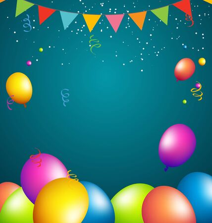 full color: balloons party color full on blue background