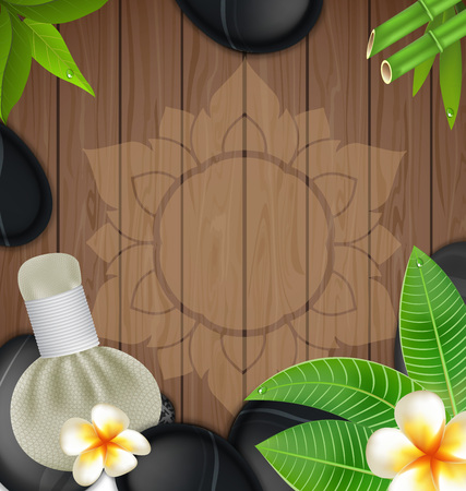 Thai herbs massage spa with compress herbs wood background