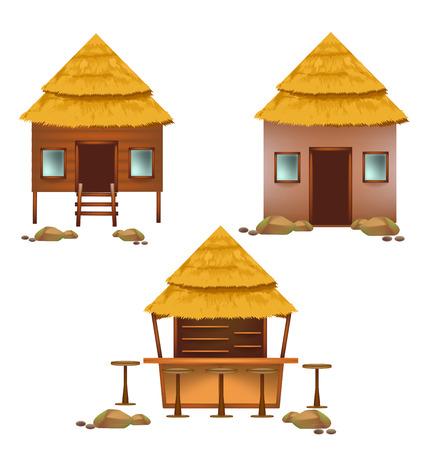 Chozas de la playa conjunto de diseño de la colección para la temporada de verano Ilustración de vector