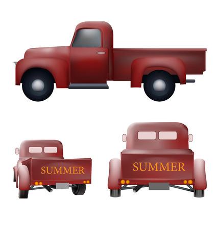Retro pickup car old design set