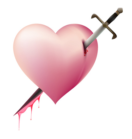 sword and heart: Sword Piece of Heart heartbroken concept