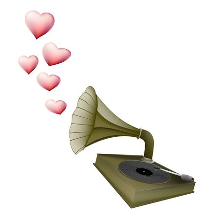 love song: Gramophone retro with heart song love concept