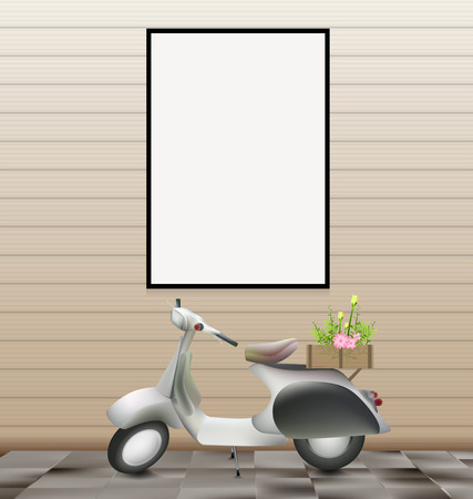 engine fire: White blank frame on wall and scooter romantic retro concept Illustration