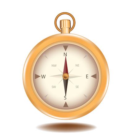 direction magnet: Compass vector element object design gold color