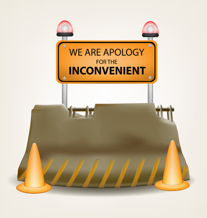 inconvenient: Inconvenient sign and concrete roadblock vector design Illustration