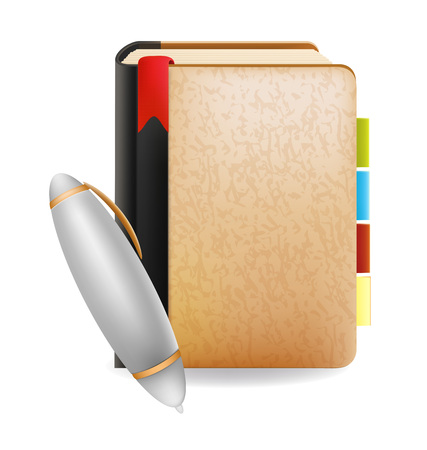 note book: Note book and pen business object vector design Illustration
