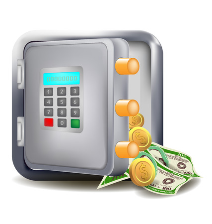 more money: Safe open with more money electronic safe vector design