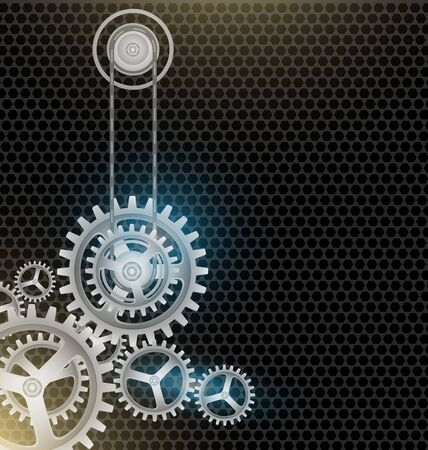 watch movement: Metal Cogs wheels black color background vector design Illustration