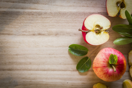 Apple top view with wooden background right side Reklamní fotografie