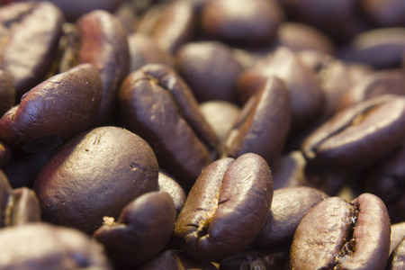 Close up coffee beans brown color