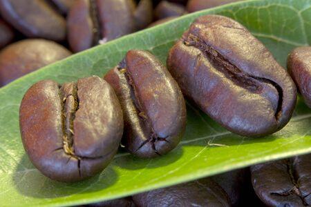 Coffee beans on leaves close up Reklamní fotografie