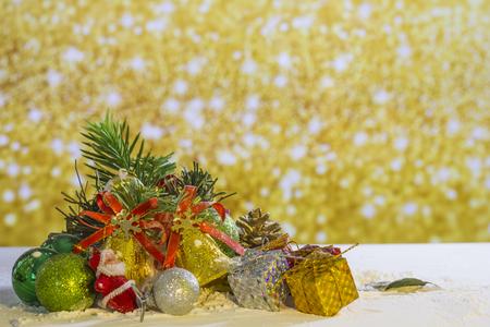 Christmas element group set on gold background