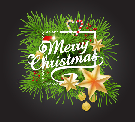 Tipografia di Buon Natale su cornice bianca e pino Archivio Fotografico - 91034045