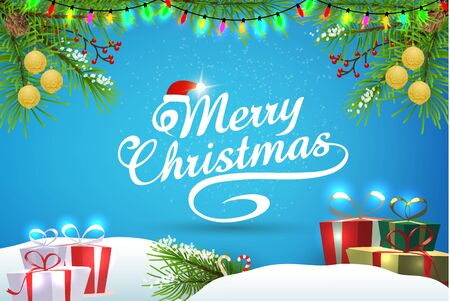 Christmas blue background and elements