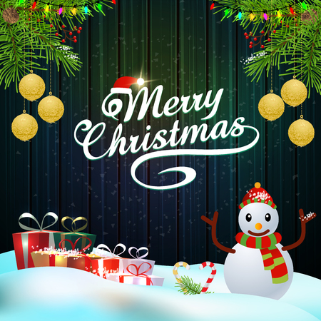 Snowman and christmas element on wood background Ilustrace