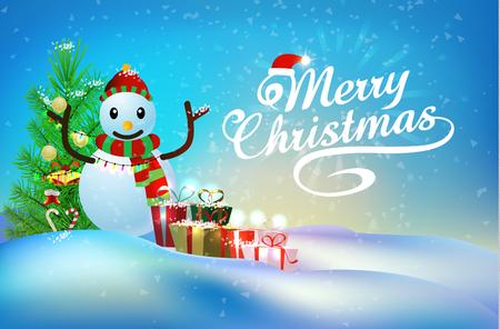 Elemento di Natale e pupazzo di neve sul cielo di neve blu Archivio Fotografico - 91034048