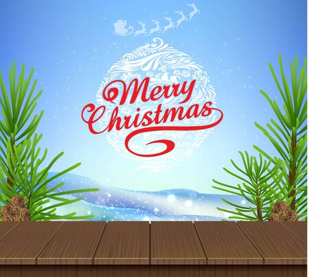 Wooden and pine tree christmas blue sky background