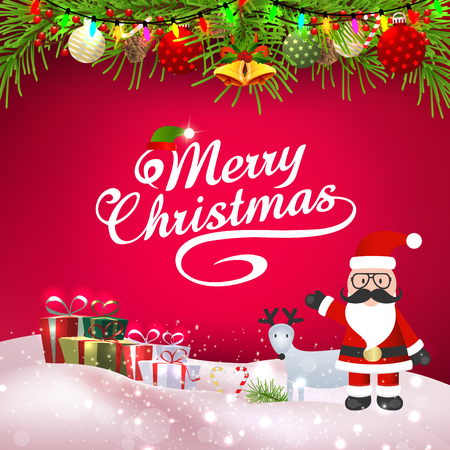 Santa and christmas element on pink background
