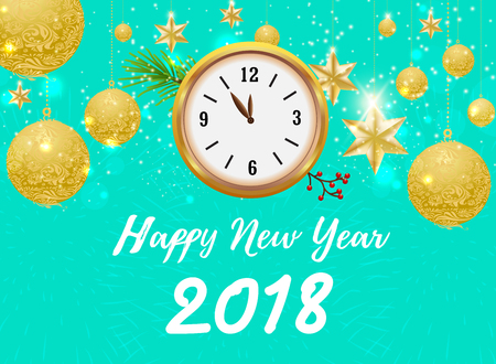 Happy new year 2018 with gold ball and clock design on a green background, for decorative poster or banner