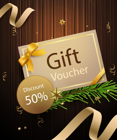 A premium gift voucher with 50 percent discount on wooden background Ilustrace