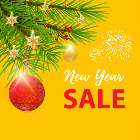 New year super sale banner with yellow background