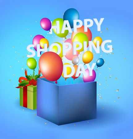 Happy shopping Day in blue box with balloons Ilustrace