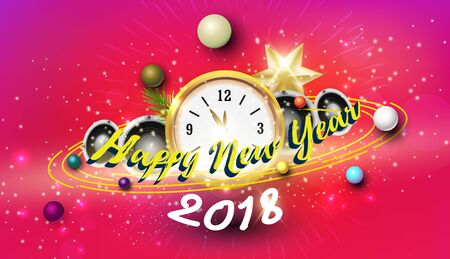 Happy new year with pink background party concept Ilustrace