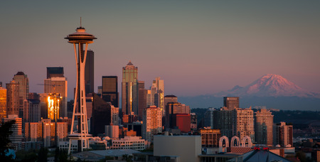 Seattle Skyline with Mt  Rainier Stock Photo