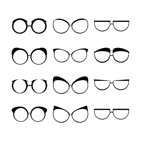 spectacle frame: Glasses set black silhouette creative man woman