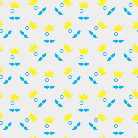 mustached: mustached King with his pince-nez seamless pattern