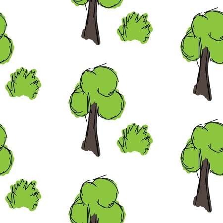 shrub: Tree and shrub hand drawn is painted on a white background, seamless pattern